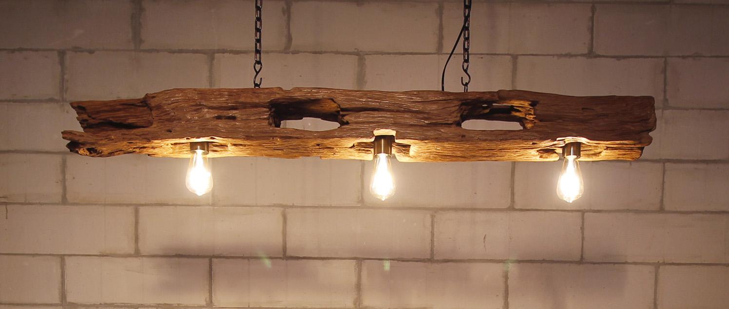 La Madera Entra En La Tendencia Raw Con Muebles De Teca Forestal - Lamparas-de-techo-en-madera